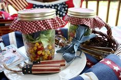 Corn salad in mason jars for picnic