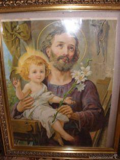 CUADRO CABECERO ANTIGUA LITOGRAFIA SAN JOSÉ EL NIÑO JESÚS EN LA CARPINTERIA-51x29 cm