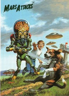 Mars Attacks : Directed by Tim Burton inspired by the Topps trading cards illustrated by Wally Wood . Mars Attacks, Sci Fi Horror, Arte Horror, Horror Art, Arte Sci Fi, Sci Fi Art, Comic Books Art, Comic Art, Digital Art Illustration