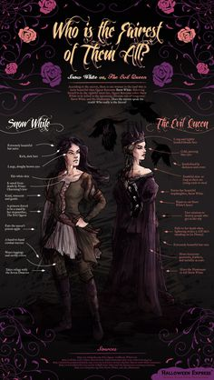 Snow White vs. The Evil Queen. Who is the Fairest of Them All?  [by Halloween Express™ -- via #tipsographic]. More at tipsographic.com