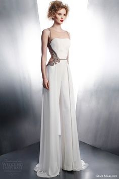 Today we're loving this gorgeous new collection by Gemy Maalouf. Gemy Maalouf's designs are always elegant yet fashion forward and exciting, Wedding Dress Winter, Wedding Robe, Wedding Pants, Wedding Gowns, Bridal Pants, Wedding Jumpsuit, Unusual Wedding Dresses, 2015 Wedding Dresses, Elegante Y Chic