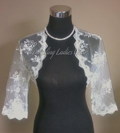 Embroidered Floral Lace Bolero 3/4 Sleeves / Shrug / Wedding