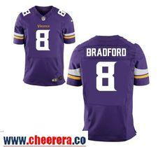 Men's Minnesota Vikings #8 Sam Bradford Purple Team Color Stitched NFL Nike Elite Jersey
