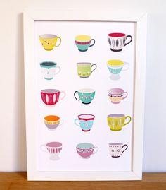 Poster de tazas, via Etsy.