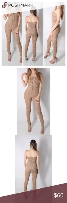 """Aisha Suede Jumpsuit Aisha Suede Jumpsuit  Lace-up bandeau neck - Strapless - Faux suede construction - Approx. 50"""" full length, 31"""" inseam - Imported Fiber Content:  96% polyester, 4% spandex   Fit: this style fits true to size.  Model's stats for sizing: - Height: 5'10.5"""" - Bust: 31"""" - Waist: 22"""" - Hips: 34"""" Model is wearing size S. Tea n Cup Pants Jumpsuits & Rompers"""
