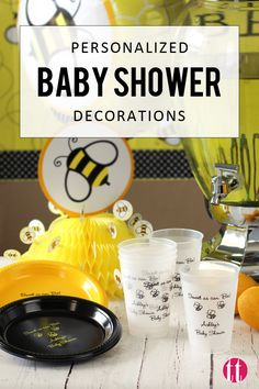 Pregnant and planning your baby shower? Take the guess work out of party planning with these super cute personalized baby shower decorations and ideas. Find everything you need to complete your party including tableware like cups, napkins, plates, guest favors, souvenirs, and gifts. Personalize with cute baby designs like the bee theme shown. See more at http://www.tippytoad.com/baby-shower.asp