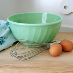 """Fire-King vintage jadeite mixing bowl in Swirl pattern. These were made in different sizes and often used as nesting bowls. The 5"""" bowls are considered rare, so if you ever run across one snatch it up and resell!"""