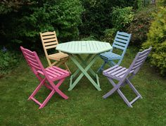 Charmant Colourful Pink Blue Green Purple Yellow/Orange Hand Painted Hardwood Garden/ Patio Table And Chair Set By Upvamped