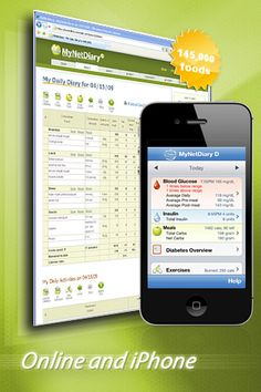 Diabetes website and iPhone screenshots