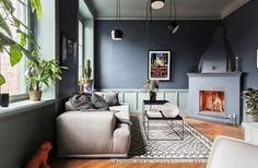 cool Déco Salon - salon couleur taupe idée canapé plante tapis sol cheminée déco mur luminaire...