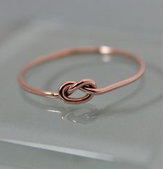 Love Knot Ring 14k Rose Gold Thin Round SOLID by tinysparklestudio