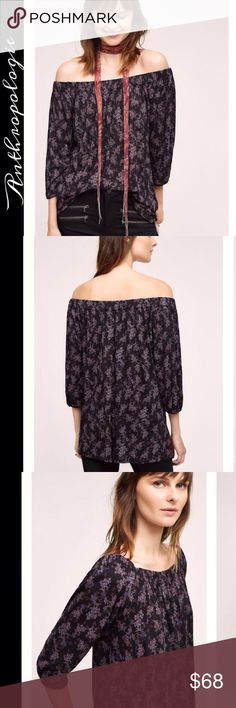Deletta off shoulder top Black floral rayon top by Deletta for Anthropologie is very soft and easy to wear Anthropologie Tops