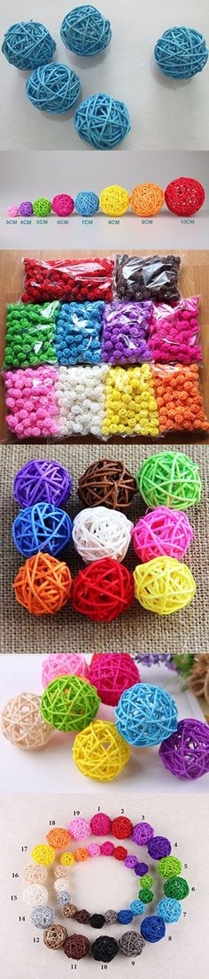10pcs Handmade Wicker Rattan Balls, Garden, Wedding, Party Decorative Crafts, Vase Fillers, Rabbits, Parrot, Bird Toys (5CM, 7# Light Blue)