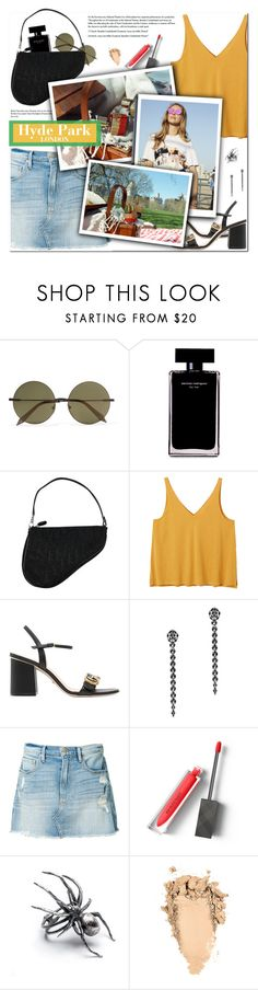 """""""How to Style a Denim Skirt with a Yellow Tank and Black Block-heeled Gucci Sandals for an Afternoon Picnic at Hyde Park in London"""" by outfitsfortravel ❤ liked on Polyvore featuring Victoria Beckham, Narciso Rodriguez, Christian Dior, Monki, Gucci, Fallon, Frame and Burberry"""