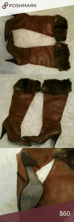 Charles David leather boot with fox fur trim. Charles David leather boot with fox fur trim. I love these boots. The show says size 10 but they  are cut small. They really are a size 9. Charles David Shoes Heeled Boots