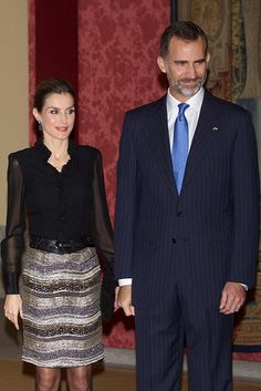 King Felipe VI of Spain and Queen Letizia of Spain host a reception at the El Pardo Palace on October 30, 2014 in Madrid, Spain.