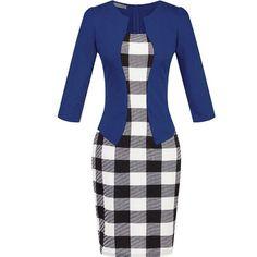 Women One-Piece Faux Jacket 2016 Bodycon Women Fashion Sheath Dress Office Lady Patchwork Tunic Knee Length Work Pencil Dresses