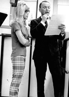 Frank and Nancy Sinatra recording Somethin' Stupid, 1967.