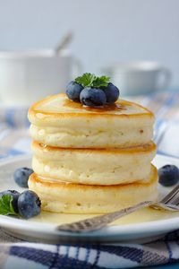 Japanese Hot Cakes- fluffier and bit sweeter- 2 large eggs , 3/4 cup plus 1 1/2 tbsp milk, 1 tsp vanilla, 1 & 2/3 cups) flour, 1& 3/4 tsp baking powder, 3 Tbsp plus 1 tsp sugar / o beat eggs, milk, & vanilla until foamy./ whisk dry ingred. then add to wet. Let sit 15 min