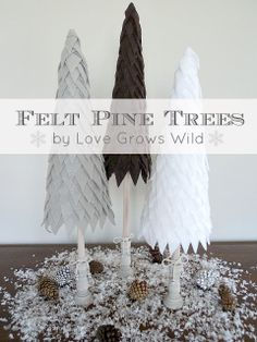 Another simple Christmas tree tutorial from Love Grows Wild: Felt Pine Trees