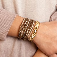 Chan Luu - Gold Mix Beaded Single Wrap Bracelet on Henna Leather, $140.00 (http://www.chanluu.com/gold-mix-beaded-single-wrap-bracelet-on-henna-leather/)