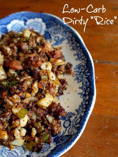 """low-carb dirty """"rice"""" is a spicy, delicious side dish or main course -lowcarb-ology.com"""