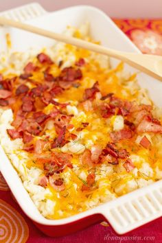 Easy loaded Colby-Jack Cheese And Bacon Mashed Potato Casserole! Tasty bacon mashed potatoes are topped with Colby Jack cheese and dill.