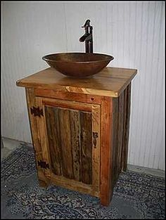 Rustic Bathroom Vanities | ... - Rustic Bathroom Vanity: Rustic Split Log Vanity with Copper Vessel