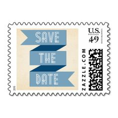 Dusk Blue Ribbon Save the Date Stamp