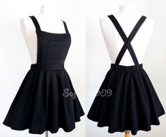 NEW Black Soft Knit Crisscross Suspender High Waisted Pleated CUTE Overall Skirt - outfit - Roupas Ideias Teen Fashion Outfits, Mode Outfits, Girl Outfits, Fashion Dresses, Womens Fashion, Ladies Fashion, Disney Outfits, Fashion Ideas, Women's Dresses