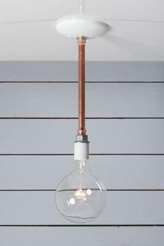 Pendant Copper Pipe Light - Bare Bulb Lamp - Industrial Light Electric - 1