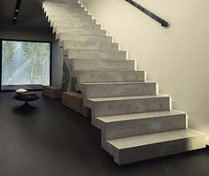 moderne betontreppen innentreppen interessante ideen The Effective Pictures We Offer You About Stairs aesthetic A quality picture can tell you many things. You can find the most beautiful pictures tha Concrete Staircase, Hardwood Stairs, Floating Staircase, Modern Staircase, Cantilever Stairs, Spiral Staircases, Home Stairs Design, Interior Stairs, Rustic Stairs