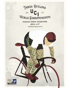 2012 UCI Track Cycling World Championships Cycling Art, Track Cycling, Bike Tattoos, Bike Illustration, Bike Poster, Vintage Cycles, Design Poster, Graphic Design, Graphic Artwork