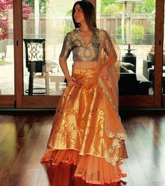 The beauty of a Banarasi lehenga is truly unmatched! See 30 latest Banarasi lehenga images inside for your wedding inspiration. Indian Wedding Outfits, Indian Outfits, Indian Attire, Indian Wear, Indian Designer Outfits, Designer Dresses, Banarasi Lehenga, Sharara, Lehenga Skirt