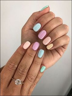 The advantage of the gel is that it allows you to enjoy your French manicure for a long time. There are four different ways to make a French manicure on gel nails. The choice depends on the experience of the nail stylist… Continue Reading → Pastel Color Nails, Solid Color Nails, Blue Nails, Nail Colors, My Nails, Colorful Nails, Gradient Nails, Prom Nails, Candy Colors