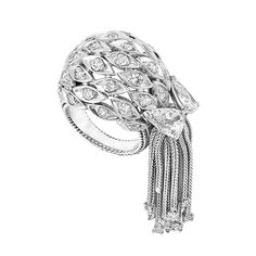 Platinum and Diamond Fringe Ring, Sterle   The pierced bombe mount composed of navette-shaped plaques centering 33 round diamonds, accented by 2 old-mine pear-shaped diamonds approximately 1.00 ct., suspending herringbone chain fringe tipped by 12 round diamonds, round diamonds altogether approximately 1.50 cts., signed Sterle, Paris, no. 9408, circa 1950