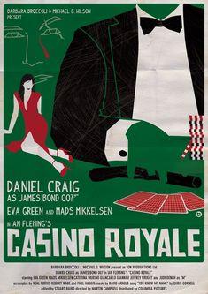 Casino Royale - James Bond Movie Posters Reimagined In the Style Of Saul Bass Casino Royale, James Bond Movie Posters, James Bond Movies, Saul Bass, Daniel Craig, Estilo James Bond, Vintage Films, Casino Movie, Casino Games