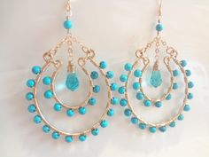 Turquoise Gemstones, Aquamarine Crystals,  Wire Wrapped, 14K Gold Filled Large Chandelier Earrings, Fashion, Trendy, Handmade Jewelry. $77.00, via Etsy.