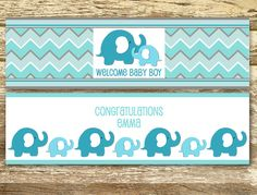 Baby Shower Water Bottle Labels - Boy Baby Shower, Blue Baby Shower, Blue…