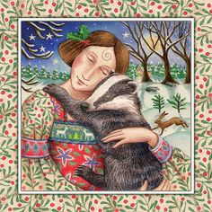 Yule Christmas Greeting Card Starry Badger Hug Pagan Goddess - The Holly Kings Song Winter Solstice Yule Christmas Card Images Of Myth Enchantment By Wendy Andrew Arthurian Legend Fantasy Art Greeting Cards To Celebrate The Pagan Festiv Illustrations, Illustration Art, Colorful Animals, Arte Popular, Winter Art, Art For Art Sake, Winter Solstice, Green Man, Wildlife Art