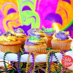 French Vanilla Butter Rum Mardi Gras Cupcakes