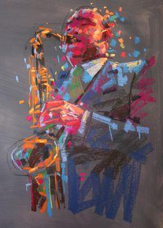 jazz Art Chalk Pastel by Jamel Akib - use this to draw for Argo? Chalk Pastel Art, Pastel Artwork, Chalk Pastels, Chalk Art, Jazz Painting, Figure Painting, Encaustic Painting, Body Painting, Painting Inspiration