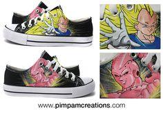 Vegeta, Buu, Dragon Ball todo en unas zapatillas personalizadas de www.pimpamcreations.com