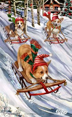 """Corgi Christmas cards are 8 1/2"""" x 5 1/2"""" and come in packages of 12 cards. One design per package. All designs include envelopes, your personal message, and choice of greeting. Select your greeting from the drop-down menu above.Add your personal message to the Comments box during checkout."""