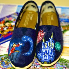 Disney World Magic Kingdom Cinderellas Castle and Fantasia Sorcerer Mickey Mouse  Painted on TOMS or vans. Artwork only. Shoes not included via Etsy