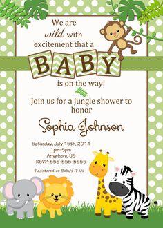 free safari baby shower invitations - Google Search