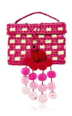 M'O Exclusive Baby Roge Pom Pom-Embellished Woven Raffia Tote by NANNACAY Now Available on Moda Operandi