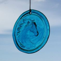 "Follow us to http://freecycleusa.com Window Suncatcher - Horse - in Aqua Hanging Glass Suncatcher - 4.25"" in Dia. Made from recycled glass"