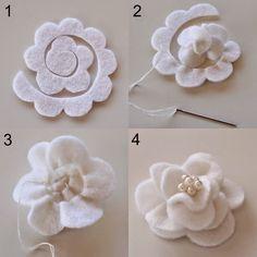 ARTE COM QUIANE - Paps,Moldes,E.V.A,Feltro,Costuras,Fofuchas 3D: como faz flor Magnólia de feltro