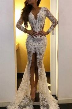 Lace Long Sleeve Prom Dresses with Slit Elegant Cheap Formal Dresses with Court Train Long Sleeve Evening Dresses, Prom Dresses Long With Sleeves, Plus Size Prom Dresses, Prom Dresses Online, Wedding Dress Sleeves, Dress Online, Long Dresses, Fall Dresses, Summer Dresses